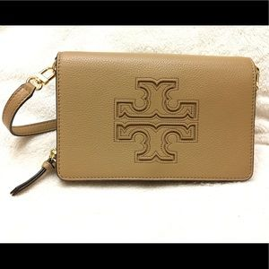 Authentic Tory Burch Tan Leather Crossbody Wallet